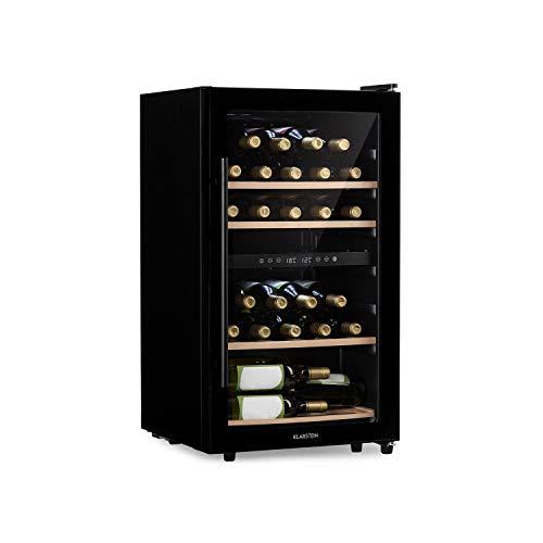 KLARSTEIN Barossa - Vinoteca, Nevera para vinos, 2 Zonas, Temperatura Regulable 5-18 °C, Estantes de Madera rebatibles, Pantalla LCD, Iluminación Interior LED, Puerta de Vidrio, 34 Botellas, Negro