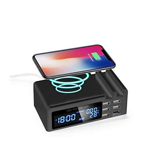 wholesome Smart LED Alarma Reloj de Alarma con teléfono móvil Cargador Fast WINESS USB Termómetro Digital Reloj de Reloj Reloj de Reloj Reloj de Reloj Decoración del hogar (Color : Black)