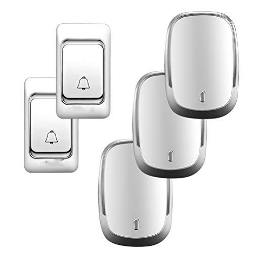 YSAYK Timbre Inalámbrico DC con Pilas Impermeable Smart Home Timbre Inalámbrico Timbre 200M Control Remoto 23A12V Botón (Size : 2 Button 3 Receiver)