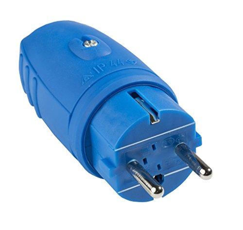as - Schwabe Gummi Stecker, ohne Kabel - IP 44 für den Aussenbereich geeignet, blau, 62401