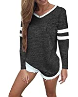 Sweetnight Basic V Neck Tunic Tops Casual Flowy Shirts Tops Blouse for Women (Dark Grey, L)