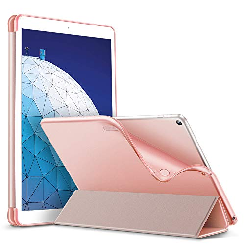 ESR Slim Smart Case for iPad Air 3 2019, Flexible TPU Back Cover with Rubberized Coating, Auto Sleep/Wake and Viewing/Typing Stand, Rose Gold
