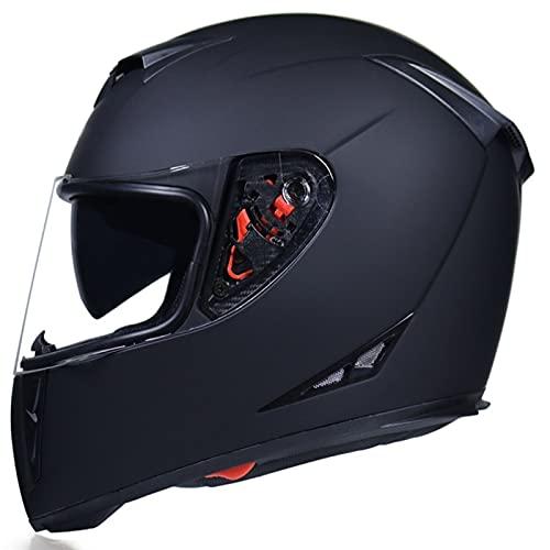 Tbagem-Yjr Cascos de Motocicleta, Casco de ciclomotor de Choque Voltear con M-XXL Dumb Negro 1500g Visores Anti-Niebla a Prueba de Lluvia ECE aprobados Four Seasons (Color : Black, Size : M)