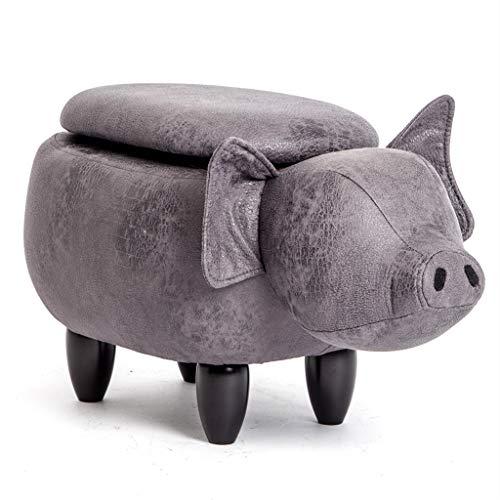 Petit Banc en Bois Banc pour Chaussure De Cochon, Tabouret De Rangement pour Chambre d'enfant Banc De Canapé Cochon Mignon Tabouret De Table Basse De Dessin Animé De Mode (Color : Gray/b)