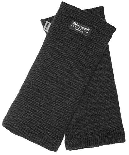 EEM Strick Wollstulpe Pulswärmer MAYA mit Thinsulate Thermofutter aus Polyester, Strickmaterial aus 100% Wolle; Schwarz Onesize