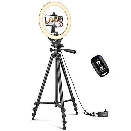 25,4 cm Ringlicht mit 127,7 cm ausziehbarem Stativ-Ständer, Sensyne LED-Kreislichter mit Handy-Halterung für Live-Stream/Make-up/YouTube-Video/TikTok, kompatibel mit allen Handys.