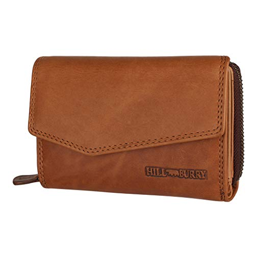 Hill Burry Echtleder Damen Geldbörse Hochwertig Vintage Chunkyrayan 13092 Brown