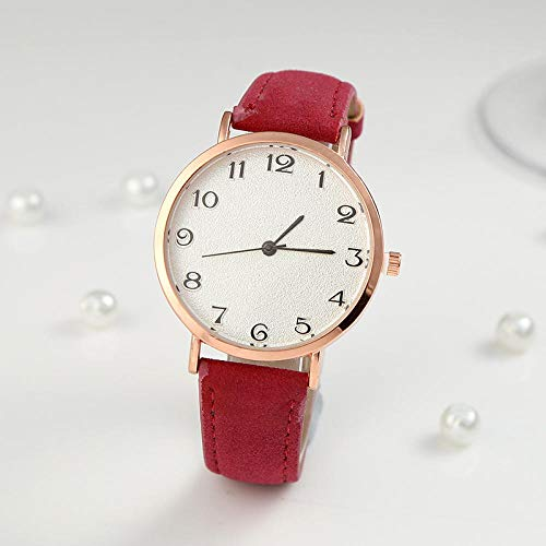 Powzz ornament Ultra-thin casual frosted belt men and women watches simple fashion student quartz watch-red