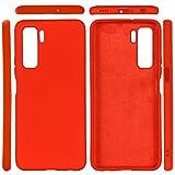 BEIJING ♋ PROTECTIVECOVER+ / for Compatible with Huawei Nova 7 SE Sólido Color Líquido Silicona Drop a Prueba de caídas Funda Protectora Completa, Fashion Phone Funda para Protector (Color : Rojo)