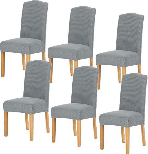 TIANSHU Fundas para sillas 6 Piezas,Poliéster Elástica Fundas sillas Duradera Modern Bouquet de la Boda Hotel Decor Restaurante(6 Piezas,Gris Claro)