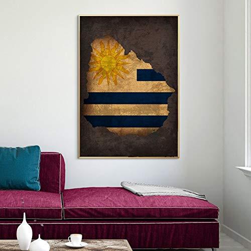 jiushivr Mapa de la Bandera del país Cartel Uruguay Bandera
