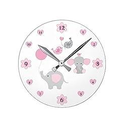 Lionkin8 Safari Elephant Pink Grey Gray Baby Girl Nursery Square Wall Clock