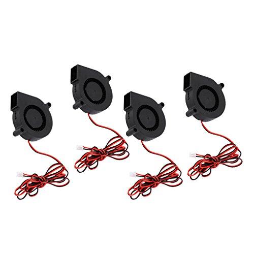 4 Pieces Mini Ultra Silent Radial Turbo Blower Fan Cooling Fan DC 24V for 3D Printer Black