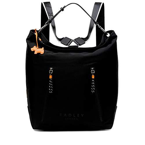 Radley Black Crofters Way Large Multiway Nylon Zip top Hobo Backpack RRP £139.00