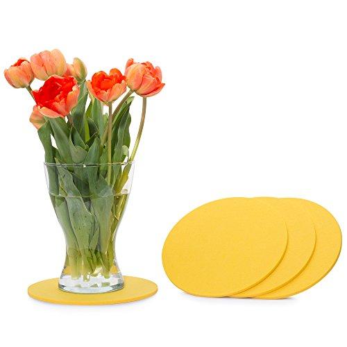 FILU Filzuntersetzer rund 20cm 4er Pack (Farbe wählbar) gelb - Untersetzer aus Filz für Tisch und Bar als Glasuntersetzer/Getränkeuntersetzer für Glas und Gläser