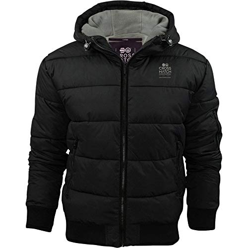 2k17Oct Mens Crosshatch Quilted Padded Hood Jacket Fleece Lined Winter Coat- Zip Pockets[Black,M]