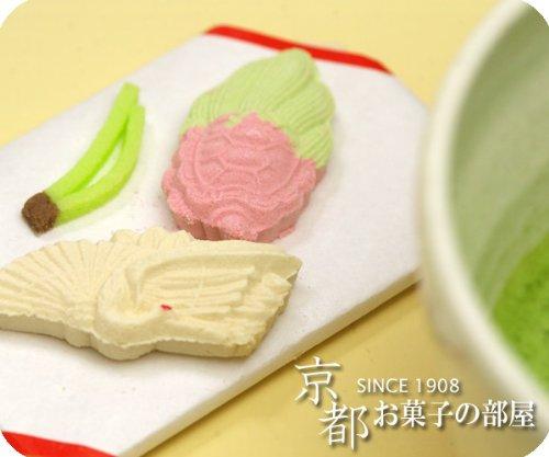 和三盆糖のお干菓子「鶴亀/松葉/水引(蝶結び)」 5個セット