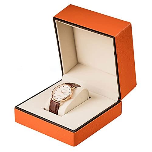OMIDM Caja De Joyería Single Slot Watch Box PU Cuero Reloj De Pulsera Mostrar Caja Organizador Portátil para Hombres Mujeres Viajar Reloj Joyería Caja De Joyería, Color Naranja