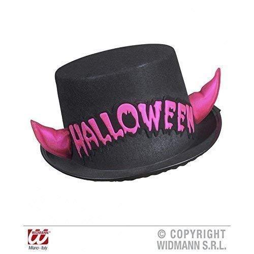 Lively Moments Cylindre/Chapeau en Noir avec Cornes et Inscription en Rose/Halloween/Carnaval