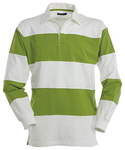 Herren Langarm Polo Shirt aus Jersey im Rugby-Style Acid/White XL