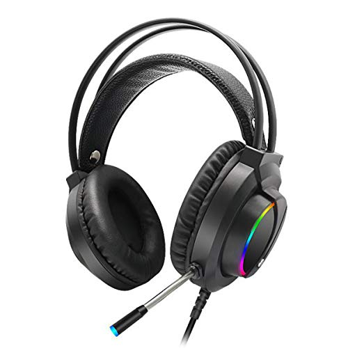 Haokaini Gaming Headset Stereo Surround Headphone, Noise Cancelling Over Ear Headphones with Mic, Bass Surround, LED Light, Soft Memory Earmuffs Compatible with PS4 PC, 3.5mm Audio Plug