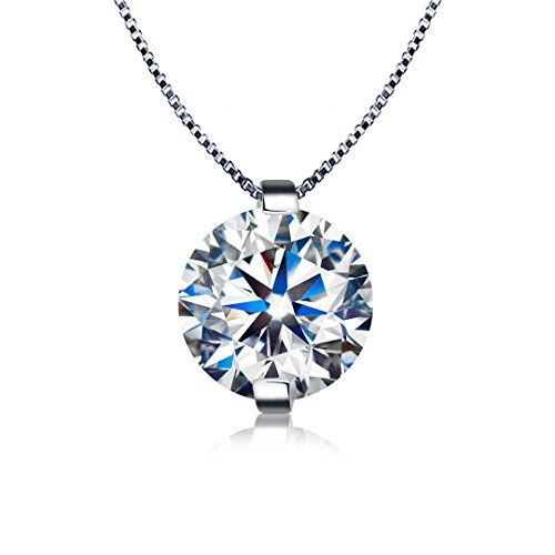 Kigmay Jewelry 925 Sterling Silver Clear Cubic Zirconia Solitaire Pendant Necklace for Women 18' (16'+2' Ext.)