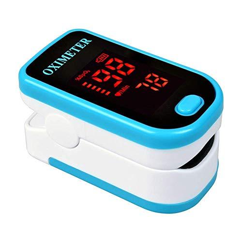 Mnjin Tester di saturazione ossimoglobina ossimetro Portatile per palmare Portatile per Uso Domestico per Bambini Pacchetto Inglese Blu