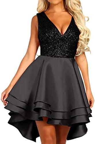 Lrady Women s Sequin Glitter V Neck Skater Mini Club Cocktail Party Swing Dress Black Medium product image