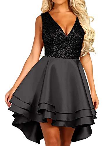 Lrady Women's Sequin Glitter V Neck Skater Mini Club Cocktail Party Swing Dress, Black, Large