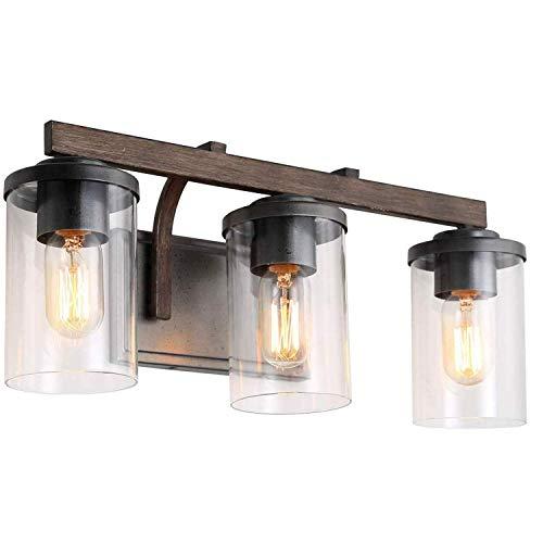 Spiegellampe Badezimmer Vintage Wandleuchte Schwarz mit Klar Glas Lampenschirm, Rustikale Wandlampe...
