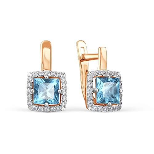 585 Russian Rose 14ct Gold Topaz Earrings