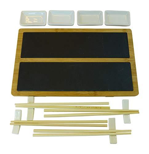 alpina Sushi Set Servieren Platte 33 x 20 cm aus Schiefer und Bambus mit Stäbchen und Schalen für 4 Personen