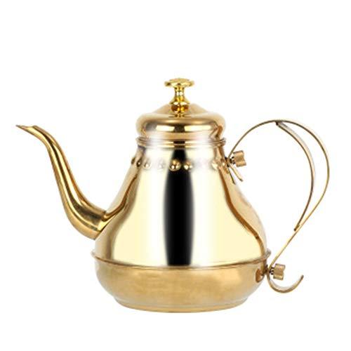 0Miaxudh Teekanne, Edelstahl-Teekanne, Schwanenhals Kaffee-Teekessel gießen, Filterkorb - Golden 1.2L