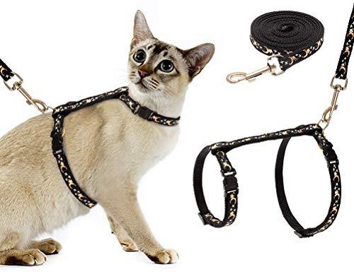 SCIROKKO Arnés y correa para gatos, ajustable, antifugas, correa de pecho con hebilla de seguridad para caminar al aire libre, apto para gatos pequeños, medianos y grandes, brilla en la oscuridad