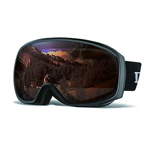 Loowoko Ski Goggles UV Protection Anti Fog OTG Snowboard Goggles for Men Women Youth