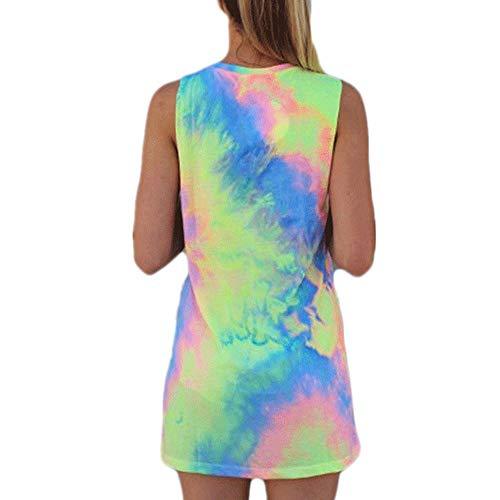 LaiYuTing Explosive Modelle von Europa und den USA Neue ärmellose Vitalität Tie-Dye-Kleider