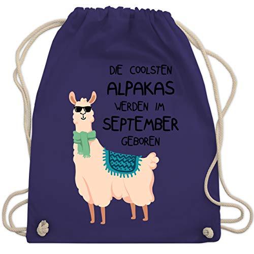 Shirtracer Geburtstag - Die coolsten Alpakas werden im September geboren Sonnenbrille - Unisize - Lila - alpaka stofftier - WM110 - Turnbeutel und Stoffbeutel aus Baumwolle