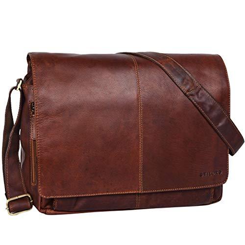 STILORD 'Alex' Vintage Ledertasche Männer Frauen Businesstasche zum Umhängen 15,6 Zoll Laptoptasche Aktentasche Unitasche Umhängetasche Leder, Farbe:Cognac - Dunkelbraun