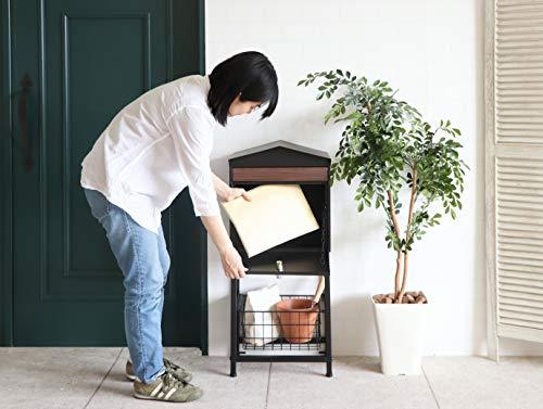 ヤマソロかご付きポストモイルMoilポスト郵便受けメールボックス鍵付き73-792(ブラック)