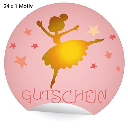 24 betoverende roze cadeaubon stickers met dansende ballerina fee en sterren, mat papier stickers voor geschenken, universele etiketten voor decoratie, pakketten, brieven etc (ø 45 mm; 24 x 1 motief) cadeaubon 5 x 24 stickers