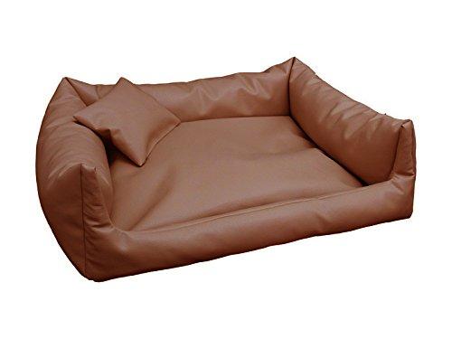 Rex Cuccia Letto Piazza in Eco Pelle XXL 100X 140colore: caramello cani divano + Cuscino