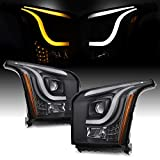 For 2015-2020 GMC Yukon/Yukon XL Switchback LED DRL Light Bar Premium Projector Headlights - Pair Black Housing