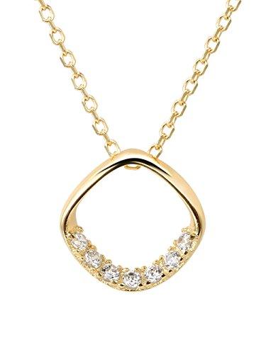 Hi Young - Colgante de plata de ley 925 bañado en oro amarillo de 14 quilates con forma de diamante cuadrado, cadena de clavícula corta con circonita cúbica transparente, longitud 38,5 cm + extensión