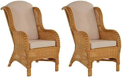 Lot de 2 fauteuils de lecture classiques en rotin naturel (type 2 miel)
