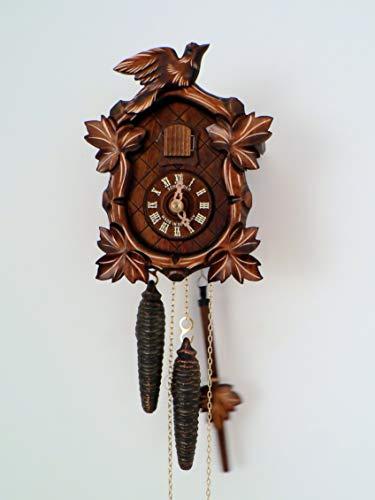 SELVA Reloj de cuco St. Märgen clásico de la Selva Negra Artesanía – Fabricado en Alemania – Caja de madera maciza – Atemporal, elegante (Dimensiones: 20 x 16 x 12 cm) – C341949