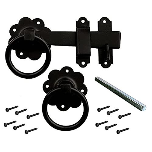 Merriway® BH01807 Gate Door Latch Smooth Ring, 150mm (6 inch) - Black Japanned