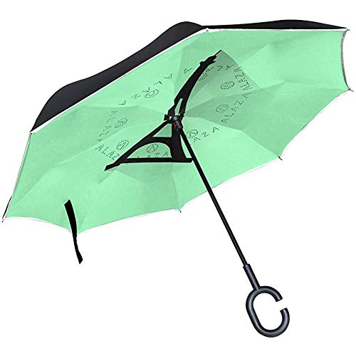 Mike-Shop Eiffelturm-Schattenbild-umgekehrter Regenschirm-Doppelschicht-winddichter UVschutz umgedrehter Regenschirm