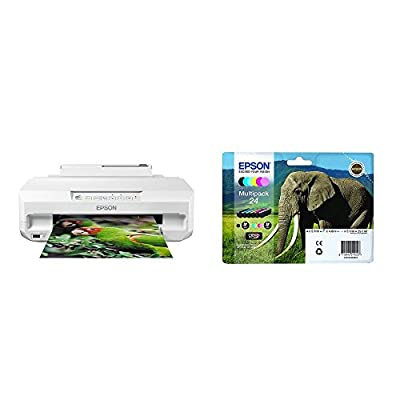 Epson Expression Photo XP-55 Wi-Fi Printer, White, Amazon Dash Replenishment Ready with Additional Ink Multipack