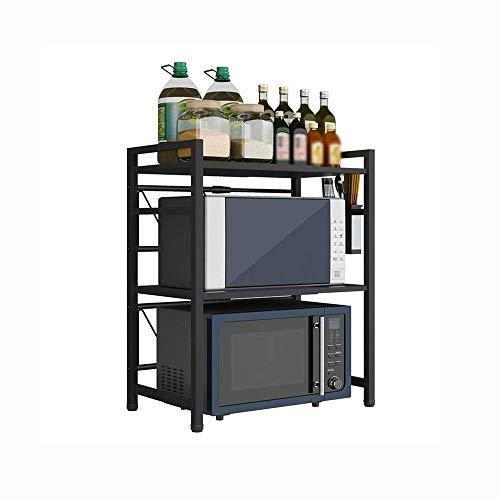 Keukenrek Roestvrij Staal Magnetron Oven Rack Keuken Counter Rack met Haak Stretchable Zwart Enkele Laag Dubbele Laag Keuken Opslag Rack dgdsfgfdgfd Double layer C