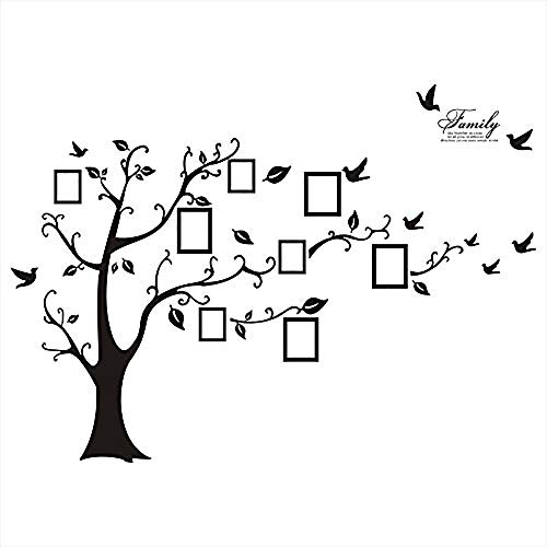Huge Black/Brown Family Photo Frame Tree Branch & Leaves wall decal sticker (Black) by WallStickersDecal